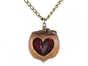 Holzschmuck Herz Haselnuss Halskette Bronze - Roter Stein | Geschenk - Zimelie