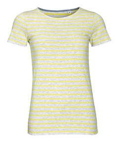 Women`s Round Neck Striped T-Shirt Marina - University of Soul