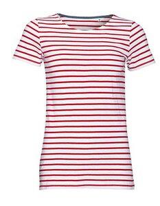 Women`s Round Neck Striped T-Shirt Marina - University of Soul