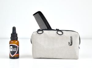 Tasche für Bartpflege Produkte für den Mann mit Monogramm, vegan, grau - renna deluxe