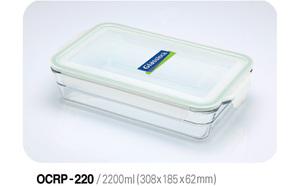 Glasslock Auflaufform und Frischhaltedose 2200ml, rechteckig - Glasslock