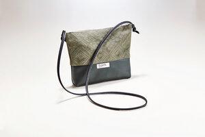 Handtasche BOTANIK // Leder grün geprägt  - frisch Beutel
