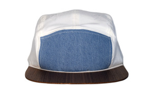 Jeans-Cap mit edlem Holzschild - Made in Germany - Denim Snapback - Lou-i