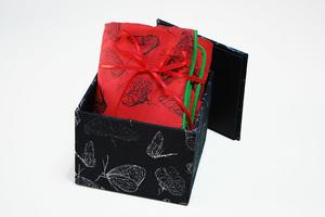 Kissenhülle rote Schmetterlinge in Geschenkbox - Biostoffe Berlin by Julie Cocon