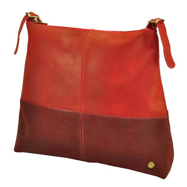 0481c4f1e9ac0 MoreThanHip - Hermosa – eleganter zweifarbiger Shopper aus Leder - rot