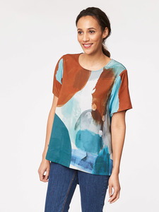 Ansel Print Tencel Top  - Thought | Braintree