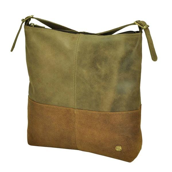 83bb6d3b60f84 MoreThanHip - Amena - stilvolle zweifarbige Damenhandtasche aus Semi-Ökö- Leder - braun