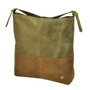 Amena - stilvolle zweifarbige Damenhandtasche aus Semi-Ökö-Leder - braun - MoreThanHip