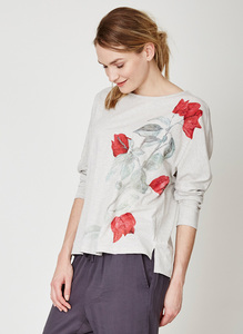 Martha Organic Cotton Batwing Top - Thought