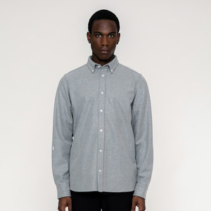 BASIC /  Wool Button Down Hemd (fair)  - Rotholz