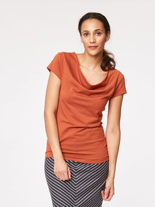 Delphy Bamboo Top - Burnt Orange - Thought
