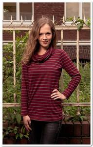 Langarm Shirt mit Wasserfallkragen - Wine - The Hemp Line