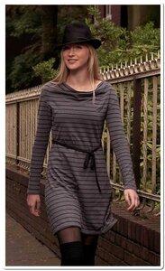 Hanf - Langarm Kleid mit Wasserfallkragen - Grau - The Hemp Line