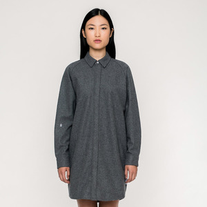 BASIC /  Wool Button Down Kleid (fair)  - Rotholz