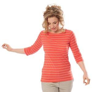 Streifen-Shirt, coral/natur 63818 mit 3/4 Arm Biobaumwolle - Living Crafts