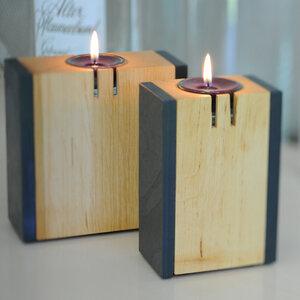 Kerzenleuchter Erle Schiefer klein - werk|inklusivo