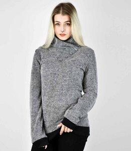 38888dd87bfeb4 Grauer Pullover mit hohem Kragen zum Knöpfen - Fräulein Stachelbeere