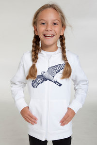 "Bio-Kinder-Zip-Hoodie ""Sperber"" - Peaces.bio - Neutral® - handbedruckt"