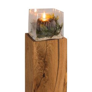Greenhaus Greenhaus Windlicht Saule Eiche Massivholz Kerzenstander