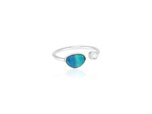 Ring Silber Blauer Opal Weißer Zirkonia offener-Ring fein Fair-Trade - pakilia