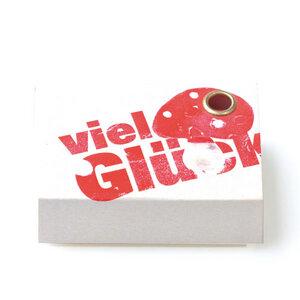 Freude schenken: Kerzengruß 'Viel Glück - Fliegenpilz' - Loony-Design