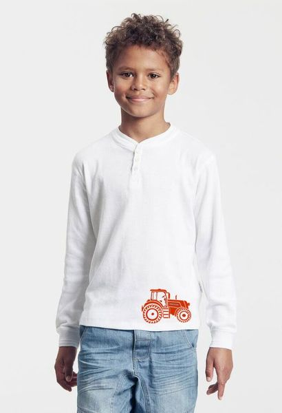 neutral handbedruckt bio kinder langarmshirt mit traktor herbert avocadostore. Black Bedroom Furniture Sets. Home Design Ideas