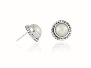 Damen-Ohrringe   Ohrstecker 'Perla torzal' 925 Sterling-Silber - pakilia