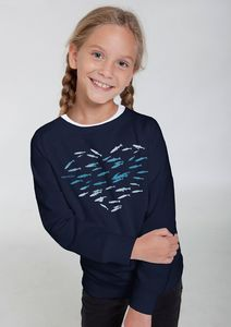 "Bio-Kindersweatshirt ""Fishheart"" - Peaces.bio - Neutral® - handbedruckt"