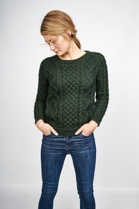 Roxie Green Wool Aran Jumper - bibico