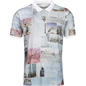 Pique polo with all over print - Bright White - KnowledgeCotton Apparel