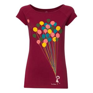 FellHerz Balloons Cap Sleeve T-Shirt Damen dunkelrot - FellHerz
