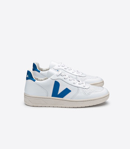 SNEAKER - V-10 LEATHER EXTRA WHITE SWEDISH BLUE - Veja