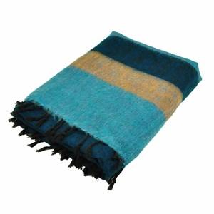 Indra - Plaid oder Wohndecke mit 'Yakwolle' - blau/lachs gestreift - MoreThanHip