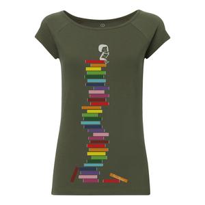 FellHerz Books Cap Sleeve T-Shirt Damen olivegrün Bio Fair - FellHerz