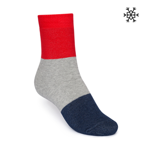 Plüsch Socken Triple High-Top rot/grau/blau Bio & Fair - THOKKTHOKK