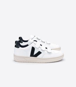 V-12 VELCRO LEATHER EXTRA WHITE BLACK - Veja