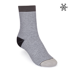 Plüsch Socken Micro Stripes High-Top schwarz/weiß/grau Bio & Fair - THOKKTHOKK
