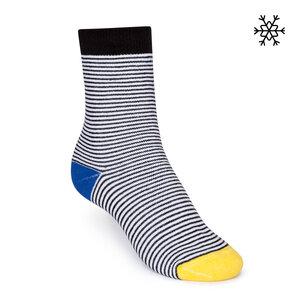Plüsch Socken Micro Stripes High-Top schwarz/weiß/bunt Bio & Fair - THOKKTHOKK