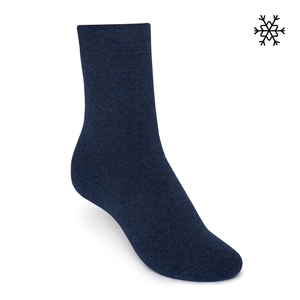 Plüsch Socken Solid High-Top navy melange Bio & Fair - THOKKTHOKK
