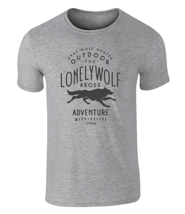 Lonely Wolf Adventure Badge Icon Vintage Style Grafik Unisex T-Shirt - California Black Plate