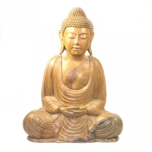 Holzbuddha mit  Meditationsmudra - Just Be