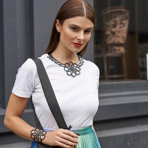 Hanami handgefertigte Halskette aus recyceltem Reifenschlauch - SAPU