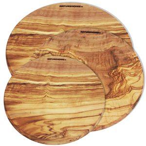3er Set Olivenholz Schneidebrett rund 20 bis 30 cm Durchmesser massives Olivenholz - NATUREHOME