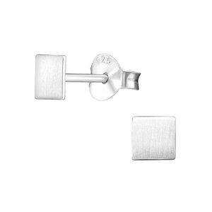 Zarter Ohrstecker Quadrat 925er Sterling Silber -  matt  - LUXAA