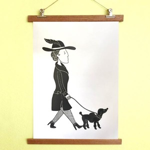 Poster Dame mit Hund mit Aufhängung - all the things we like