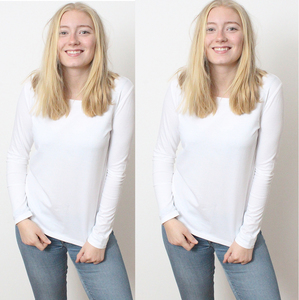 Damen Langarmshirt, Longsleeves in 2er Pack in Weiß S, M,L,XL - YTWOO
