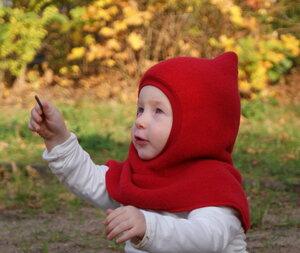 Kinder Schalmütze, moosgrün /rot /saphirblau, geschlossen - MIRRORMONKEY