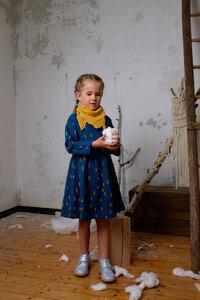 Kleid dunkelblau / Schnee print - Pünktchen Komma Strich