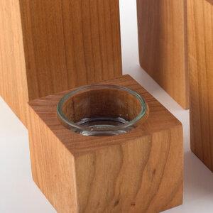 Teelichthalter aus Kirschbaumholz 4er-Set - Lajos Varga