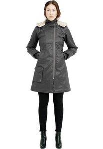 Ladies' Long HoodLamb Coat - Grey - Hoodlamb
